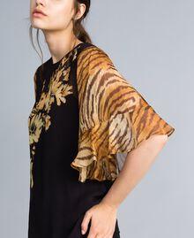 Блуза из жоржета с комбинацией принтов Набивной Цветы/Тигровый женщина TA825D-03