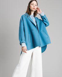 Caban en tissu de laine double Bleu Mykonos Clair Femme 191TP2481-02