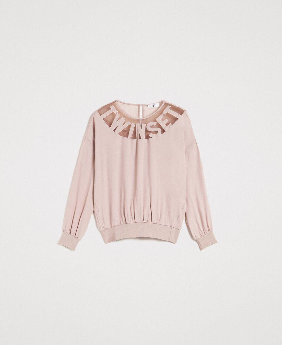 """Sweat shirt avec empiècement en tulle et logo Gris """"Poussière Grise"""" Femme 191LL23BB-0S"""