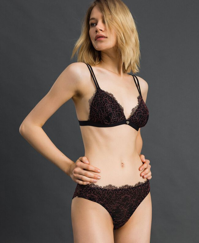 "Lace and tulle Brazilian briefs Black / ""Dolly"" Pink Woman 192LI6477-01"