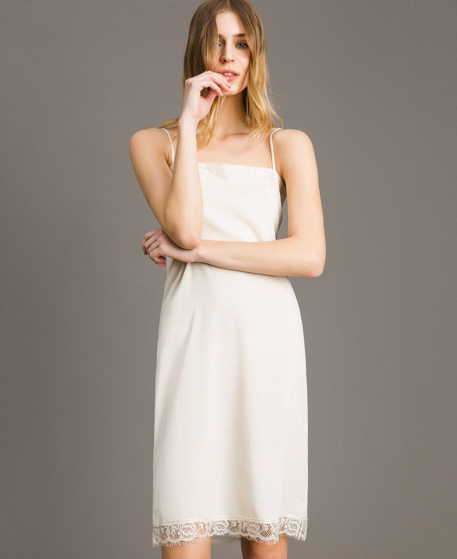 "Crêpe de Chine slip dress with lace ""Shell"" Beige Woman 191MT2451-01"