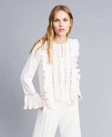 Silk blend blouse with ruches and lace White Snow Woman TA823Q-01