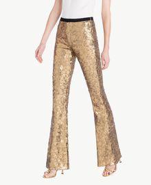 Hose mit Alloverpailletten Gold Gelb Frau TS82EQ-02