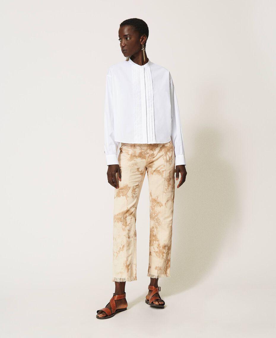 Camicia in popeline con pieghe Bianco Donna 211TT245C-02
