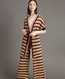 "Cardigan with multicolour lurex stripes Multicolour ""Bronze Powder"" Brown Woman 191LB3ADD-01"