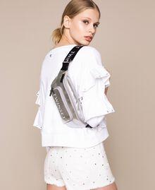 Vinyl effect faux leather belt bag Titanium Gray Woman 201TA7179-0S