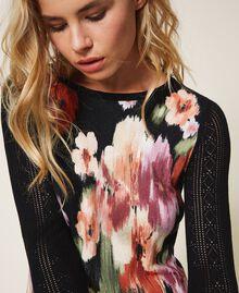 Трикотажное платье с цветочным принтом Цветок Шине Черный женщина 202TT3342-04