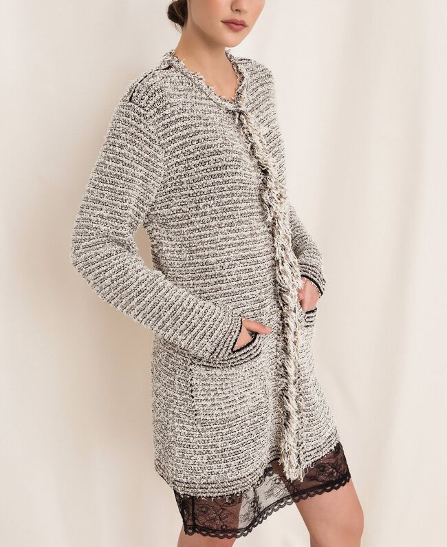 Twisted yarn jacket with lurex Multicolour Ivory / Black Woman 201TP3160-04