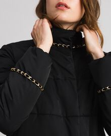 Quilted long puffer jacket with chains Black Woman 192TP2141-04