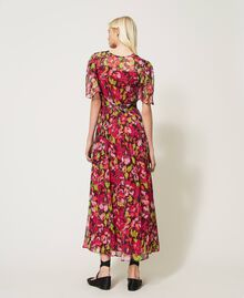 Floral creponne long dress Fuchsia Floral Print Woman 202TP2531-03