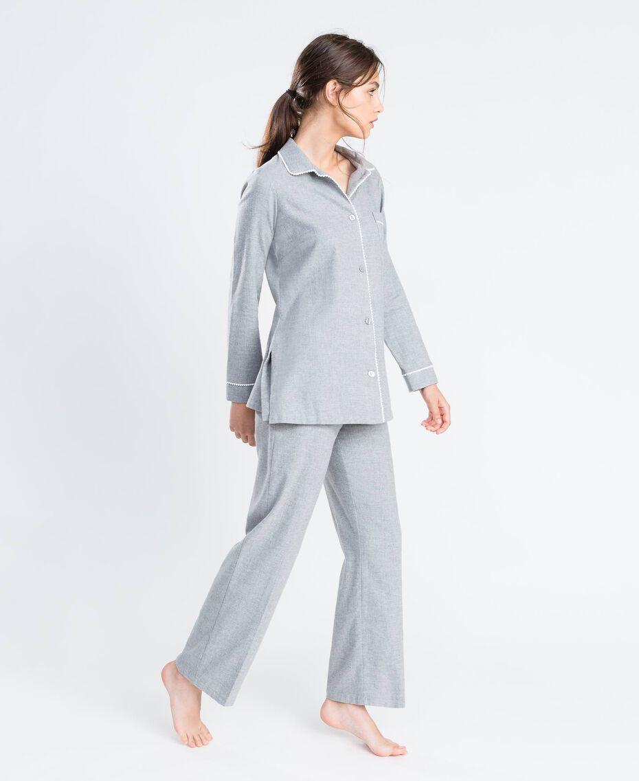 Pyjama aus meliertem Flanell Durchschnittgrau-Mélange Frau LA8BHH-02