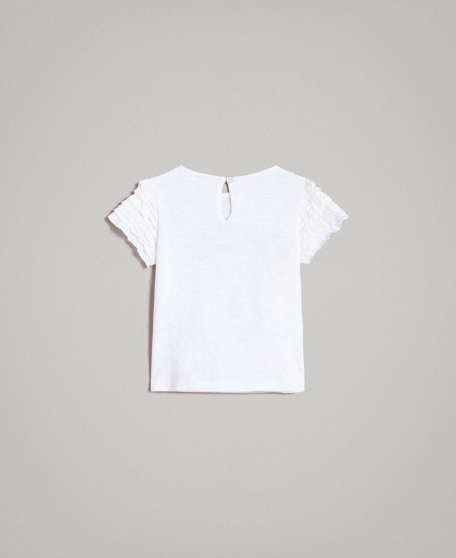 T-Shirt aus Jerseystoff mit Aufdruck und Strass Weiß Kind 191GB2322-0S