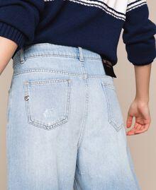 Jean ample avec cinq poches Bleu Denim Femme 201MP2281-04