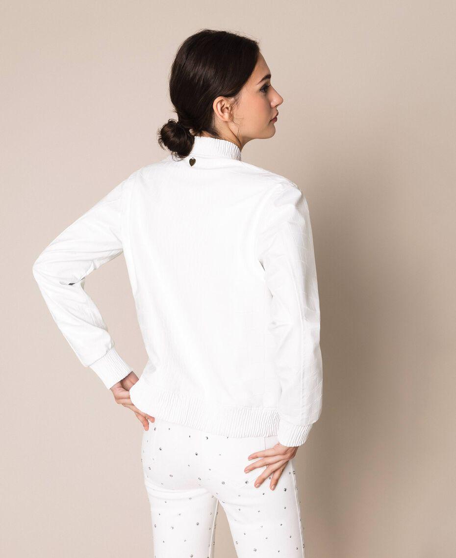 Crocodile print faux leather bomber jacket White Snow Woman 201TP2366-03