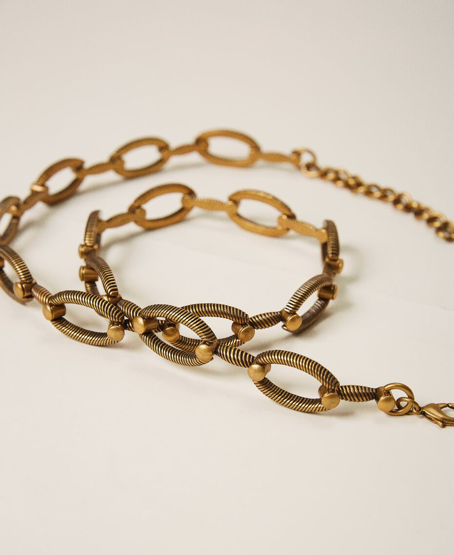 """Metal belt with torchon loops """"Aged Coppery Brass"""" Gold Woman 202TO5012-02"""