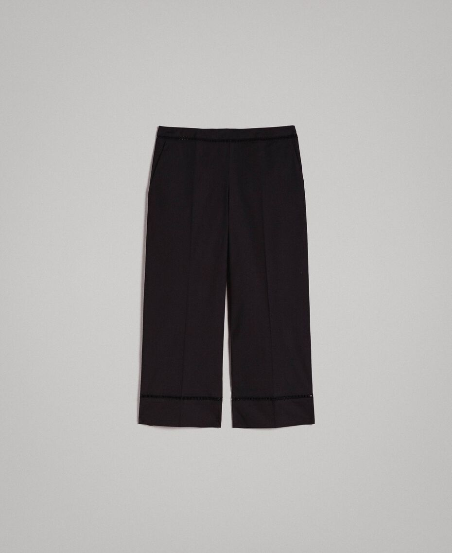 Poplin trousers with embroideries Black Woman 191TT2244-0S