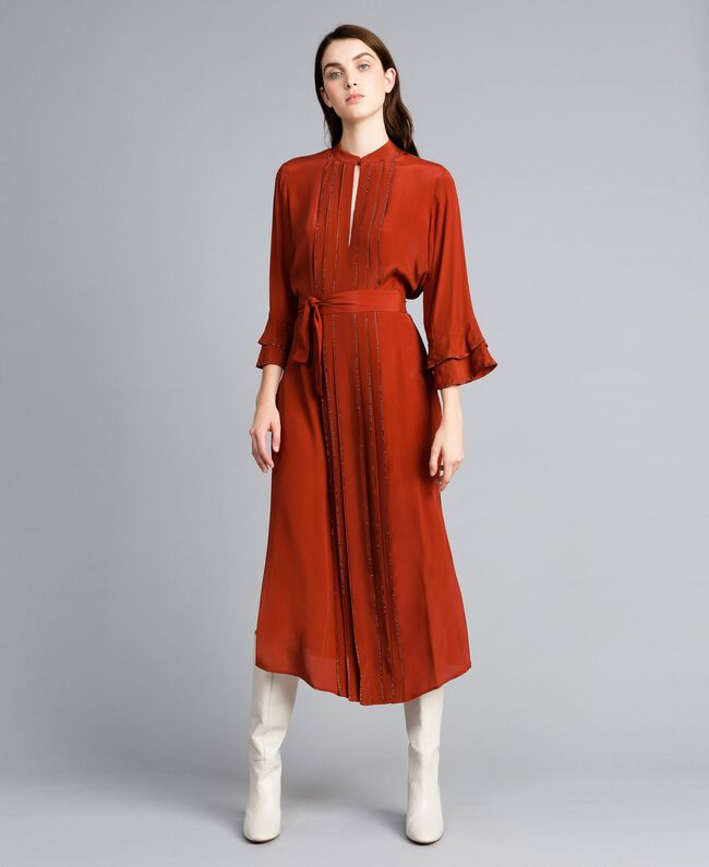 Robe longue en soie mélangée avec strass Brûlé Femme TA8233-03
