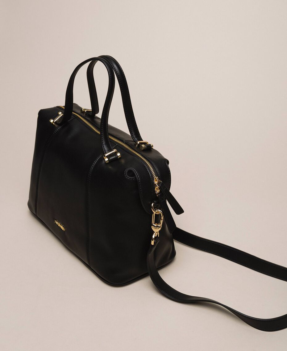 Faux leather bowler bag Black Woman 201TA7162-03