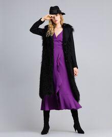 Manteau long en drap et fausse fourrure Noir Femme TA82A5-0T