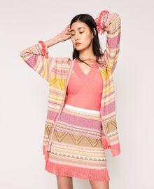 Maxi cardigan à franges Jacquard Multicolore Rose Femme 201TT3161-0T