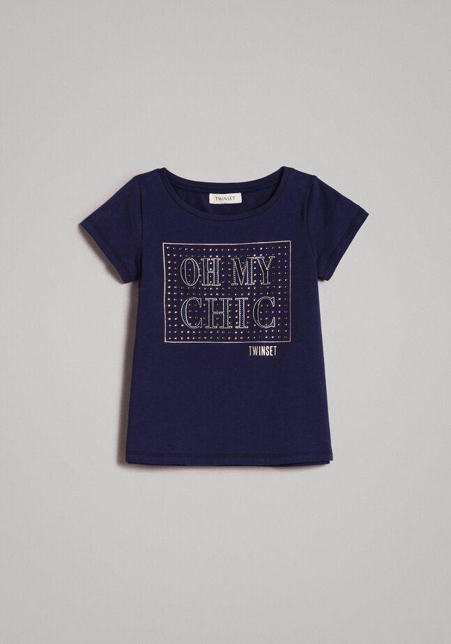 T-shirt en coton stretch avec strass