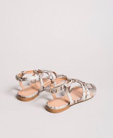 Animal print leather flat sandals Ice Python Print Woman 191TCP13A-05