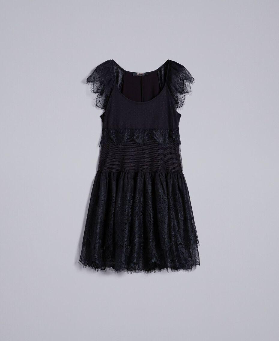 Mesh, lace and plumetis dress Black / Black Woman JA82HA-0S
