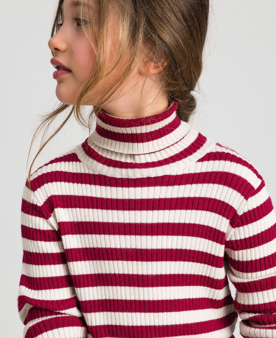 Ribbed mock turtleneck with stripes Ruby Wine Striped Jacquard / Oat Child 192GJ3170-05