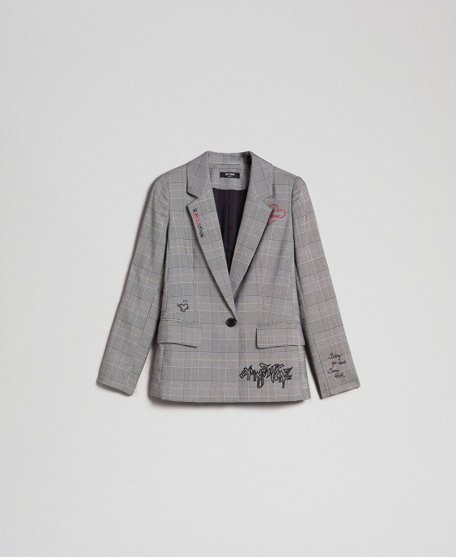 Blazer mit Prince-of-Wales-Muster und Stickereien Prince of Wales Frau 192MP2284-0S