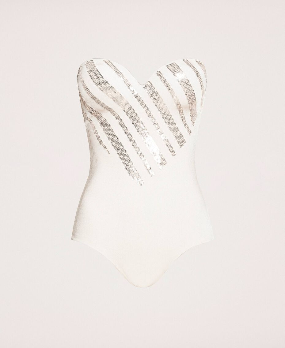 "One-piece swimsuit with sequins ""Milkway"" Beige Woman 201LBMCZZ-0S"
