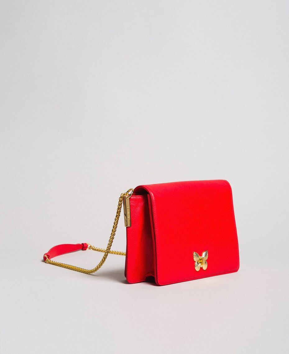 """Large leather shoulder Bea bag """"Ruby Butterfly"""" Red Woman 191TA7140-02"""