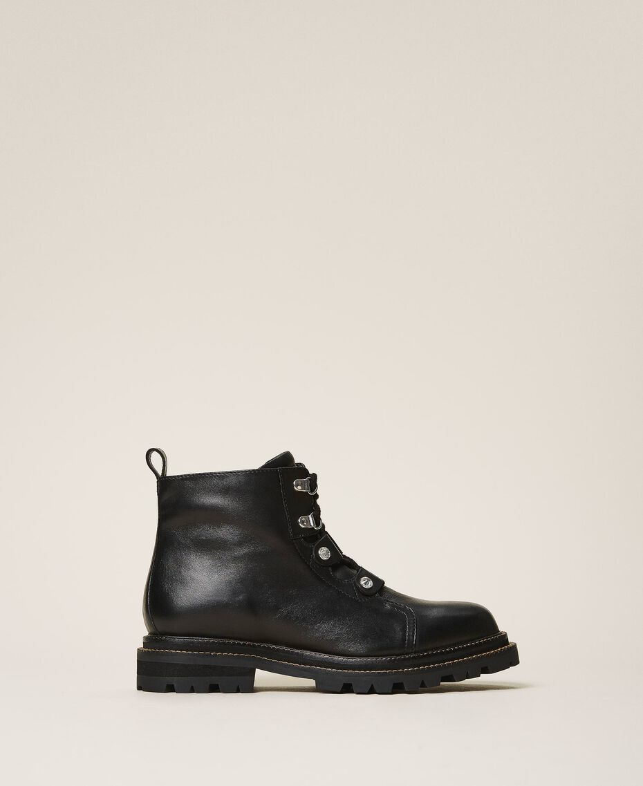 Leather combat boots with bezels Black Woman 202TCT120-02