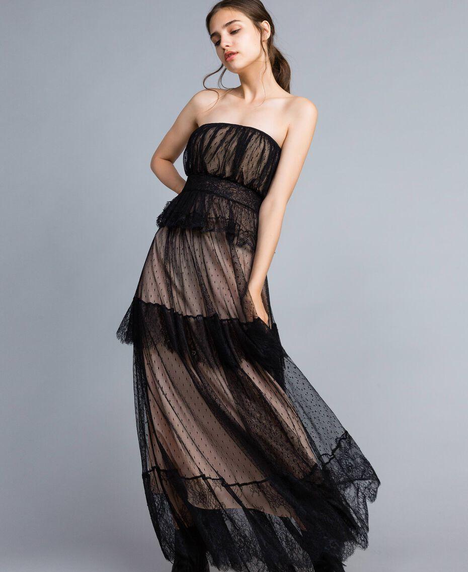 Robe longue bustier en tulle plumetis et dentelle Noir Femme TA82XC-02