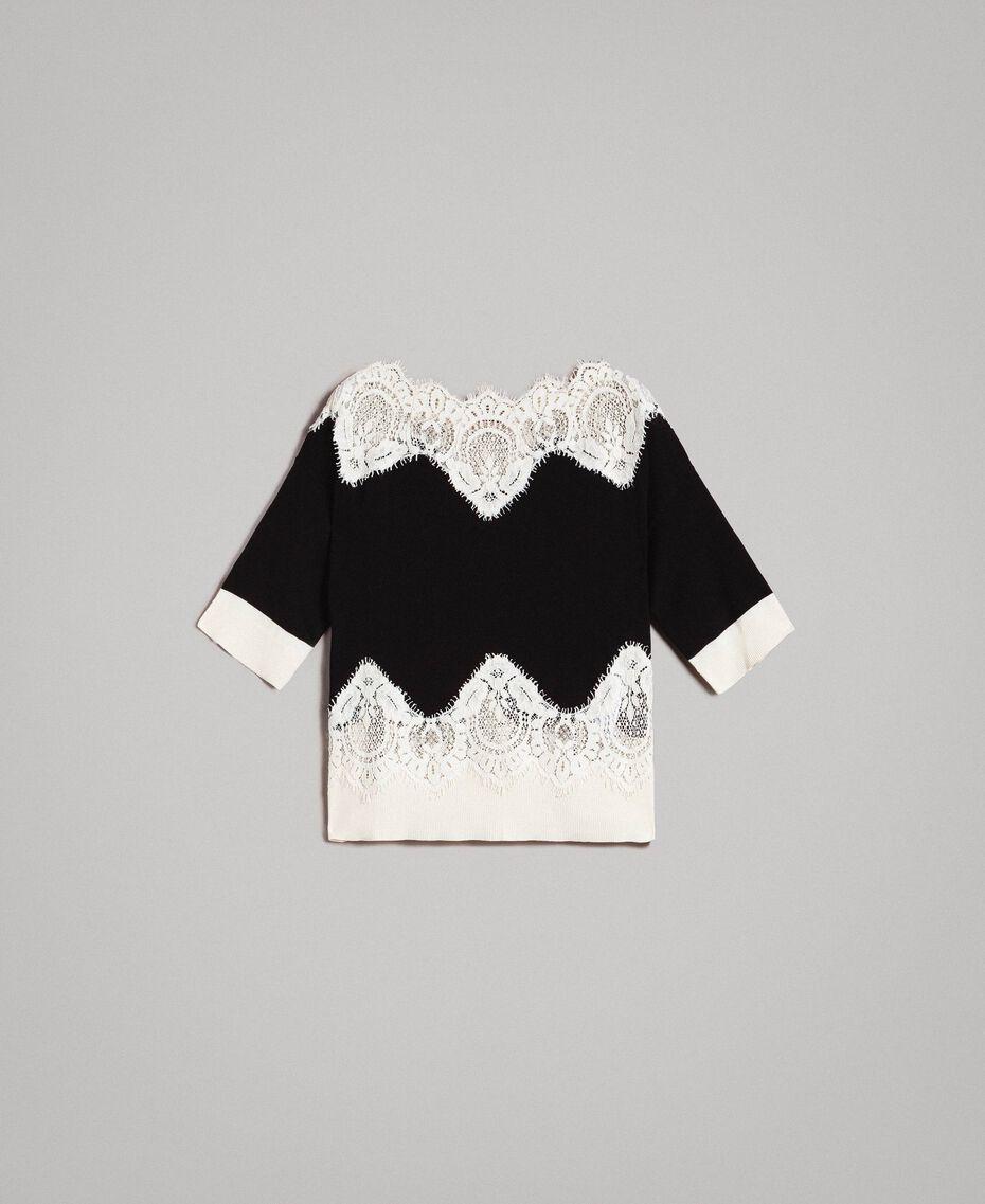 Pullover mit Spitzendetails Zweifarbig Schwarz / Schneeweiß Frau 191TT3032-0S