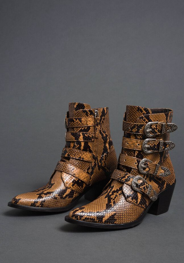 Leather Texas boots with animal print