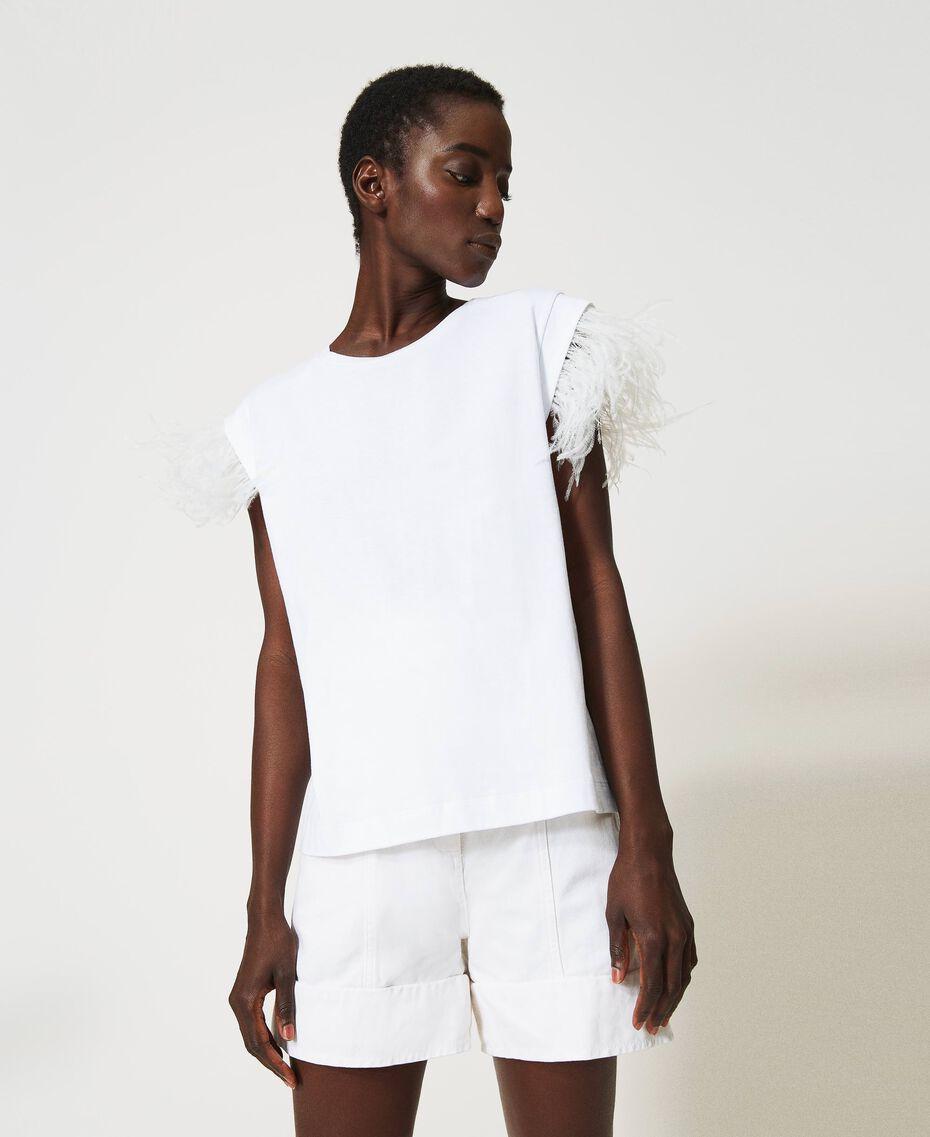 T-Shirt mit Federn Weiß Frau 211TT2420-01