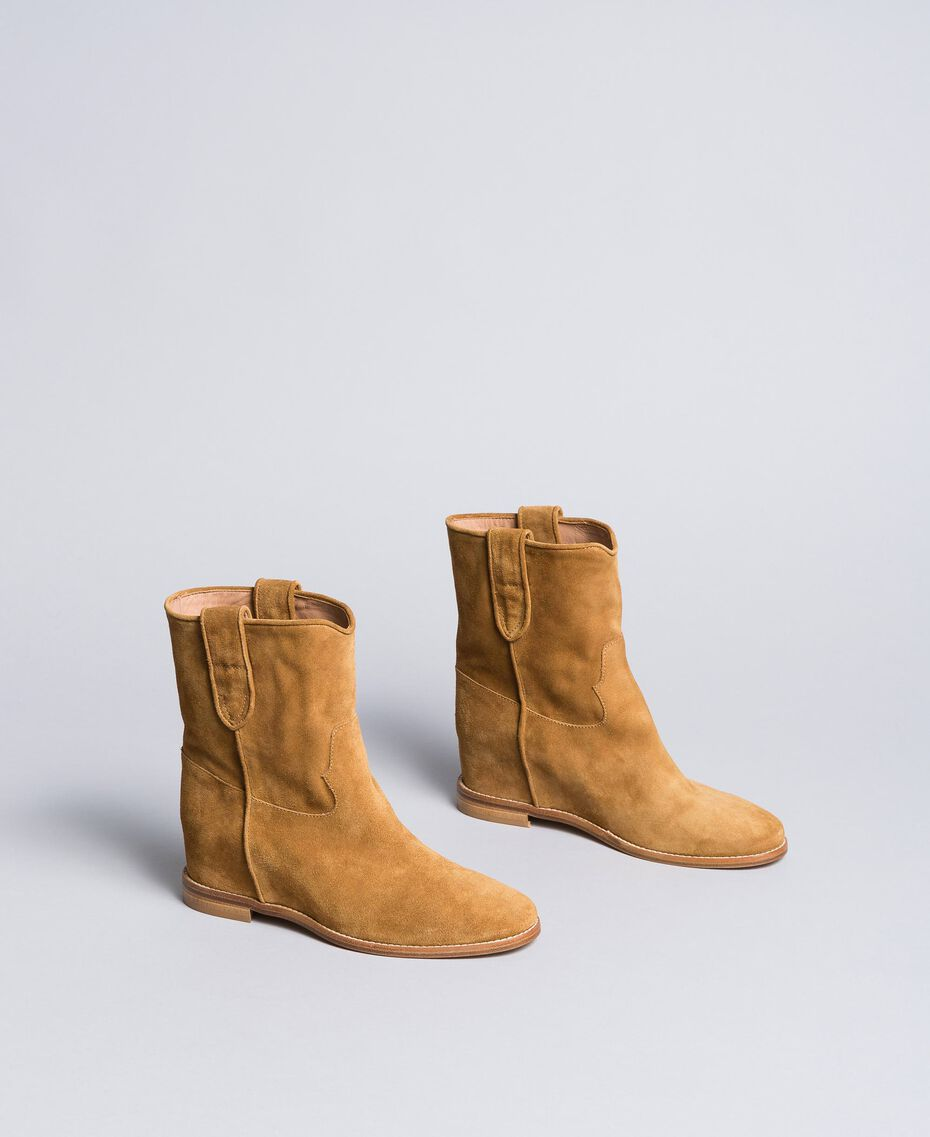 Suede ankle boots with wedge Cookie Beige Woman CA8TCC-02