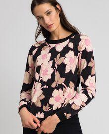 Cardigan-pull avec imprimé floral Imprimé Fleur Noir Femme 192LL3KRR-05