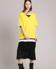 "Robe longue avec fond de robe Bicolore Jaune ""Freesia"" / Noir Femme 191MP3053-05"
