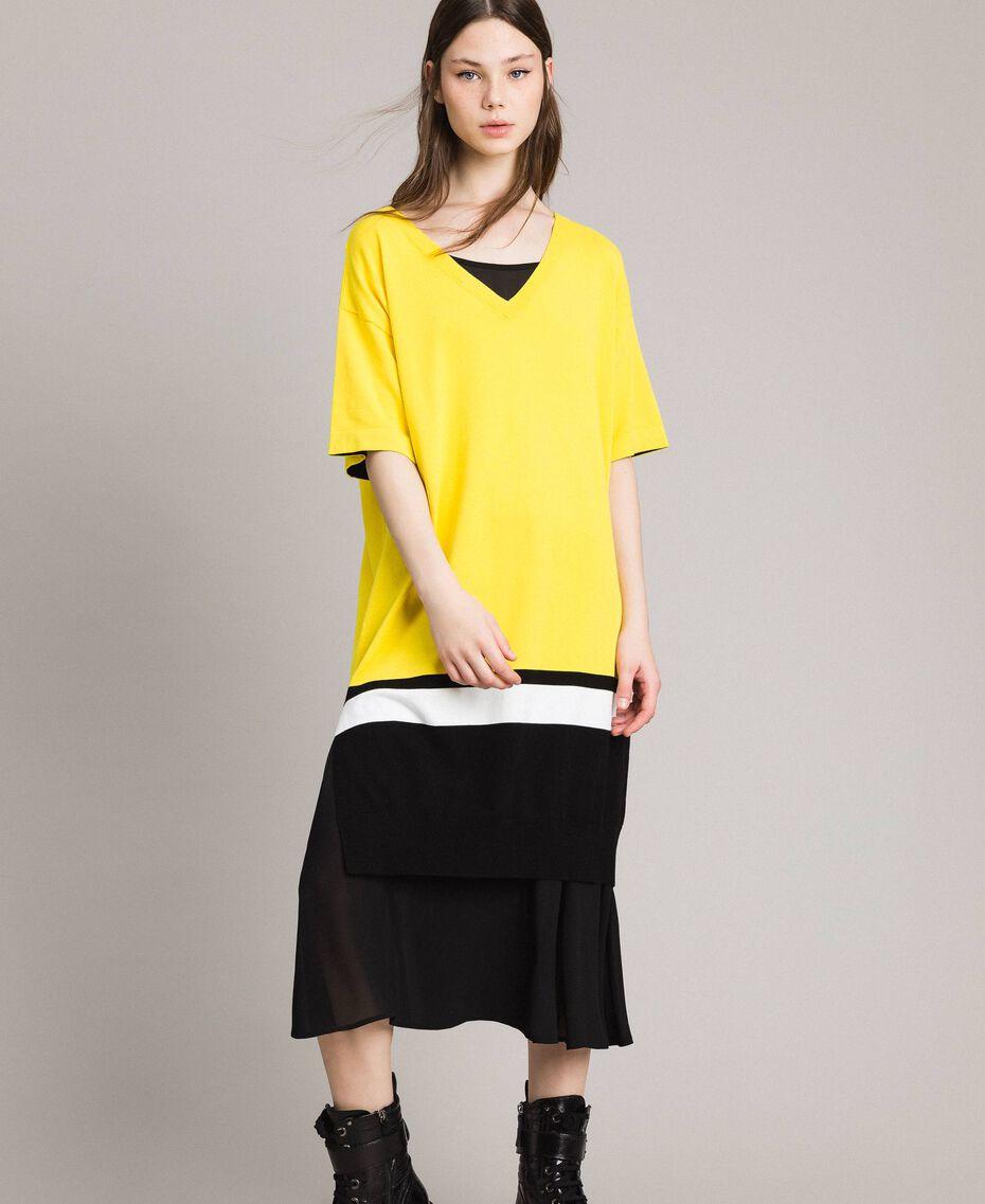 "Long dress with slip Two-tone ""Freesia"" Yellow / Black Woman 191MP3053-05"