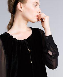 Robe en velours et crêpe georgette Noir Femme PA823A-04