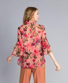 "Bluse aus Chiffon mit Blumenprint Print ""Rosa Tulpe"" Frau TA825S-03"