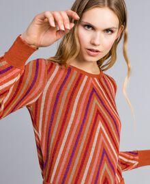 """Maglia jacquard a righe lurex multicolor Jacquard Riga Lurex Arancione """"Bruciato"""" Donna TA838C-04"""