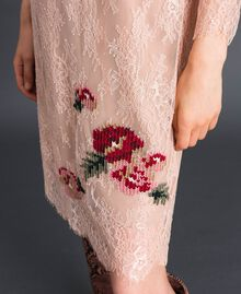 "Valenciennes lace dress with floral embroidery ""Pale Pink"" Woman 192TP2587-04"