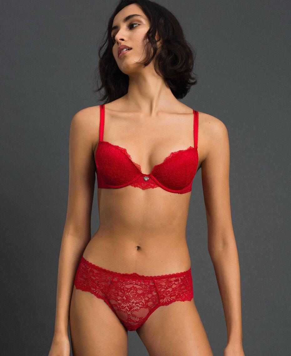 Slip brasiliana in pizzo Rosso Ardente Donna 192LL6C77-02
