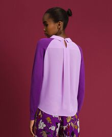 Pull en mélange de laine et crêpe georgette Violet / Rose «Glycine» Femme 192ST3060-03