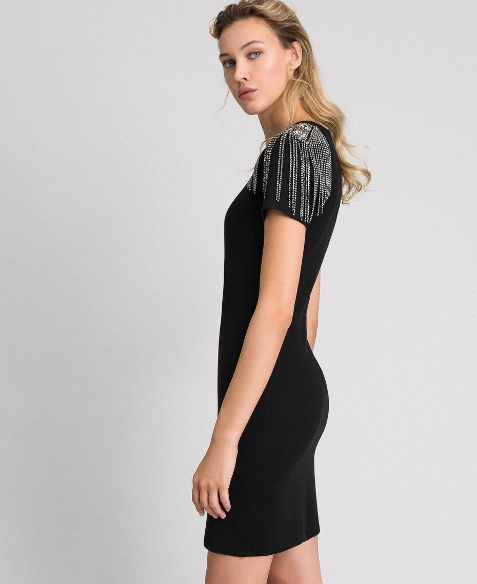 Sheath dress with rhinestone chains Black Woman 192TT3075-01