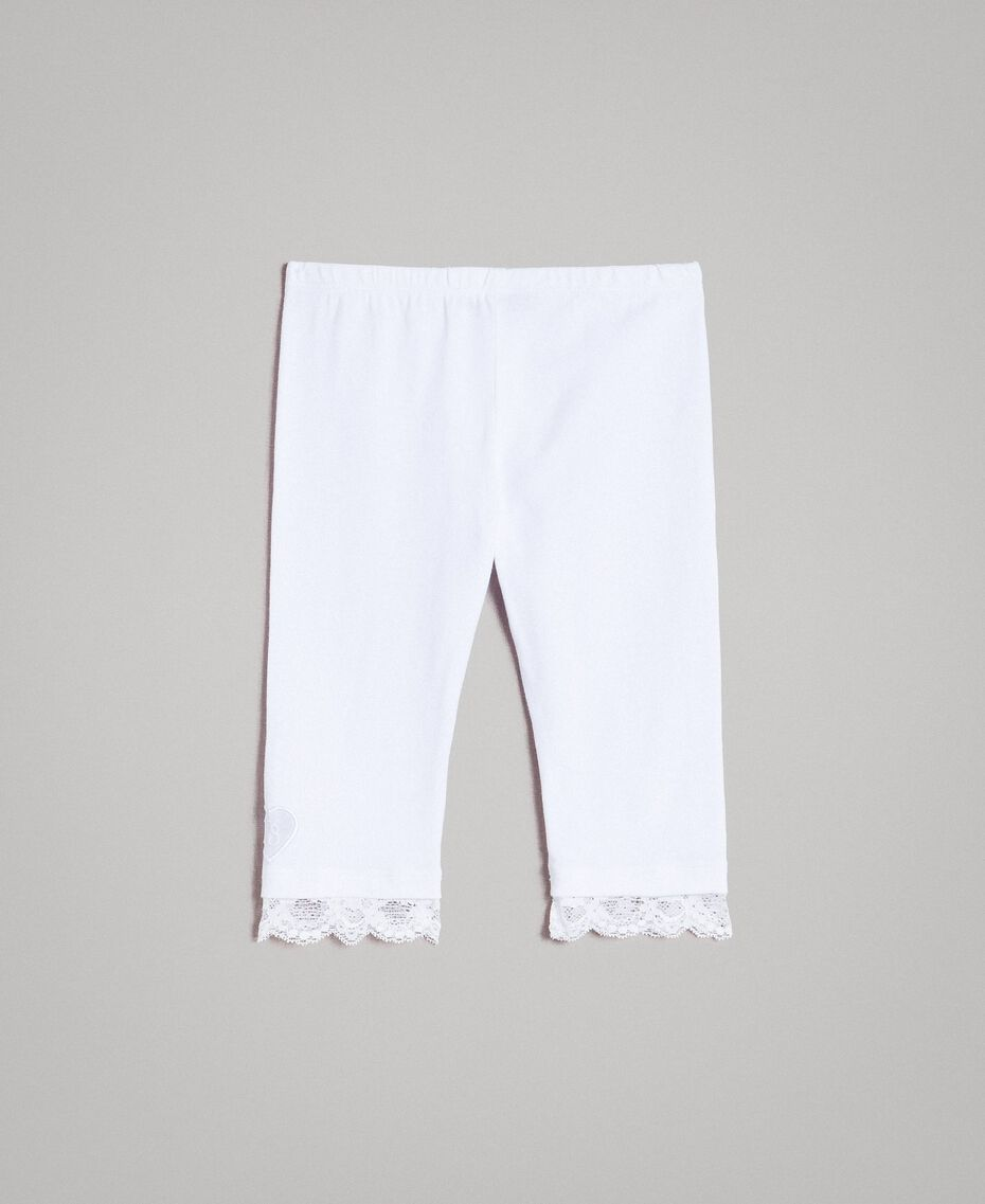 Jersey leggings with lace White Child 191GB2182-0S