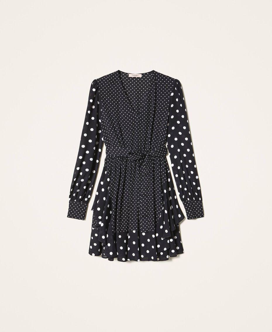 """Polka dot crêpe de Chine dress Black / """"Snow"""" White Polka Dot Patch Woman 202TT2311-0S"""