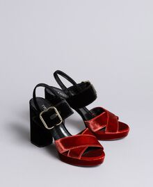 "Two-tone velvet platform sandals Bicolour Black / ""Burnt"" Orange Woman CA8THG-02"